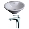 19.25-in. W x 19.25-in. D Round Vessel Set In White Color With Single Hole CUPC Faucet