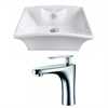 19.5-in. W x 16.25-in. D Rectangle Vessel Set In White Color With Single Hole CUPC Faucet
