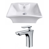 American Imaginations 19.5-in. W x 16.25-in. D Rectangle Vessel Set In White Color With Single Hole CUPC Faucet