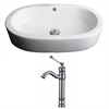 25.25-in. W x 14.5-in. D Oval Vessel Set In White Color With Deck Mount CUPC Faucet