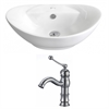 American Imaginations 23-in. W x 15.25-in. D Oval Vessel Set In White Color With Single Hole CUPC Faucet