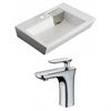 26-in. W x 17.75-in. D Rectangle Vessel Set In White Color With Single Hole CUPC Faucet