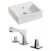 American Imaginations 21-in. W x 16.5-in. D Rectangle Vessel Set In White Color With 8-in. o.c. CUPC Faucet