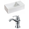 American Imaginations 19.25-in. W x 9.5-in. D Rectangle Vessel Set In White Color With Single Hole CUPC Faucet