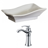American Imaginations 20-in. W x 14-in. D Unique Vessel Set In White Color With Deck Mount CUPC Faucet