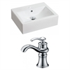 20.25-in. W x 16.25-in. D Rectangle Vessel Set In White Color With Single Hole CUPC Faucet