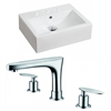 American Imaginations 20.25-in. W x 16.25-in. D Rectangle Vessel Set In White Color With 8-in. o.c. CUPC Faucet
