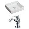 American Imaginations 17.5-in. W x 17.5-in. D Square Vessel Set In White Color With Single Hole CUPC Faucet