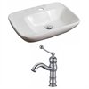 American Imaginations 23.5-in. W x 17.25-in. D Rectangle Vessel Set In White Color With Single Hole CUPC Faucet
