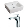 American Imaginations 21-in. W x 16.5-in. D Rectangle Vessel Set In White Color With Single Hole CUPC Faucet
