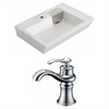 American Imaginations 26-in. W x 17.75-in. D Rectangle Vessel Set In White Color With Single Hole CUPC Faucet