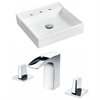 17.5-in. W x 17.5-in. D Square Vessel Set In White Color With 8-in. o.c. CUPC Faucet