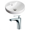 18.25-in. W x 18.25-in. D Round Vessel Set In White Color With Single Hole CUPC Faucet