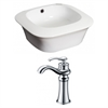 American Imaginations 16.75-in. W x 16.75-in. D Square Vessel Set In White Color With Deck Mount CUPC Faucet
