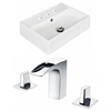 American Imaginations Rectangle Vessel Set In White Color With 8-in. o.c. CUPC Faucet