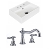 19.75-in. W x 13.75-in. D Rectangle Vessel Set In White Color With 8-in. o.c. CUPC Faucet