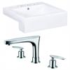 20.25-in. W x 19-in. D Rectangle Vessel Set In White Color With 8-in. o.c. CUPC Faucet