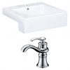 20.25-in. W x 19-in. D Rectangle Vessel Set In White Color With Single Hole CUPC Faucet