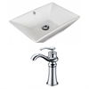 American Imaginations 22-in. W x 14.75-in. D Rectangle Vessel Set In White Color With Deck Mount CUPC Faucet