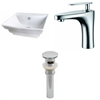 American Imaginations 19.75-in. W x 17-in. D Rectangle Vessel Set In White Color With Single Hole CUPC Faucet And Drain