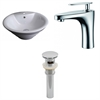 19.25-in. W x 19.25-in. D Round Vessel Set In White Color With Single Hole CUPC Faucet And Drain