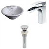 American Imaginations 19-in. W x 19-in. D Round Vessel Set In White Color With Single Hole CUPC Faucet And Drain