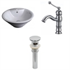 American Imaginations 19.25-in. W x 19.25-in. D Round Vessel Set In White Color With Single Hole CUPC Faucet And Drain