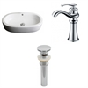 American Imaginations 25.25-in. W x 14.5-in. D Oval Vessel Set In White Color With Deck Mount CUPC Faucet And Drain