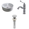 18.25-in. W x 18.25-in. D Round Vessel Set In White Color With Single Hole CUPC Faucet And Drain