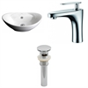 American Imaginations 23-in. W x 15.25-in. D Oval Vessel Set In White Color With Single Hole CUPC Faucet And Drain