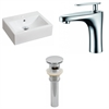 American Imaginations 20.25-in. W x 16.25-in. D Rectangle Vessel Set In White Color With Single Hole CUPC Faucet And Drain