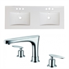 American Imaginations 48-in. W x 18.25-in. D Ceramic Top Set In White Color With 8-in. o.c. CUPC Faucet