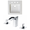 American Imaginations 21.5-in. W x 17.75-in. D Ceramic Top Set In White Color With 8-in. o.c. CUPC Faucet