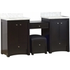 70-in. W x 18.5-in. D Birch Wood-Veneer Vanity Set In Distressed Antique Walnut