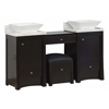 60-in. W x 18.5-in. D Birch Wood-Veneer Vanity Set In Distressed Antique Walnut