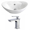 23-in. W x 15.25-in. D Oval Vessel Set In White Color With Single Hole CUPC Faucet