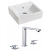 21-in. W x 16.5-in. D Rectangle Vessel Set In White Color With 8-in. o.c. CUPC Faucet