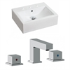 20.25-in. W x 16.25-in. D Rectangle Vessel Set In White Color With 8-in. o.c. CUPC Faucet