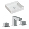 American Imaginations 17.5-in. W x 17.5-in. D Square Vessel Set In White Color With 8-in. o.c. CUPC Faucet