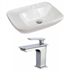 23.5-in. W x 17.25-in. D Rectangle Vessel Set In White Color With Single Hole CUPC Faucet