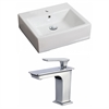 21-in. W x 16.5-in. D Rectangle Vessel Set In White Color With Single Hole CUPC Faucet