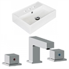 American Imaginations 19.75-in. W x 13.75-in. D Rectangle Vessel Set In White Color With 8-in. o.c. CUPC Faucet