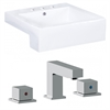 20.25-in. W x 19-in. D Square Vessel Set In White Color With 8-in. o.c. CUPC Faucet