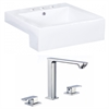 American Imaginations 20.25-in. W x 19-in. D Square Vessel Set In White Color With 8-in. o.c. CUPC Faucet