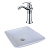 16.75-in. W x 16.75-in. D Square Vessel Set In White Color With Deck Mount CUPC Faucet