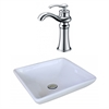 15.75-in. W x 15.75-in. D Square Vessel Set In White Color With Deck Mount CUPC Faucet