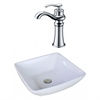 American Imaginations 16.5-in. W x 16.5-in. D Square Vessel Set In White Color With Deck Mount CUPC Faucet