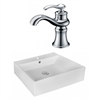 American Imaginations 20.5-in. W x 17.25-in. D Rectangle Vessel Set In White Color With Single Hole CUPC Faucet