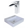 American Imaginations 17-in. W x 17-in. D Square Vessel Set In White Color With Single Hole CUPC Faucet