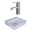 17-in. W x 17-in. D Square Vessel Set In White Color With Single Hole CUPC Faucet